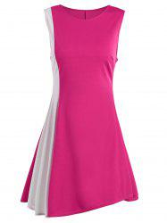 Sleeveless A Line Two Tone Dress - ROSE MADDER