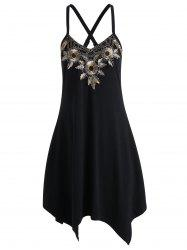 Cami Floral Embroidered Criss Cross Handkerchief Dress - BLACK