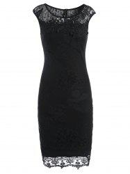 Lace Panel Sleeveless Pencil Sheath Dress - BLACK