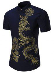 Short Sleeve Dragon Printed Shirt