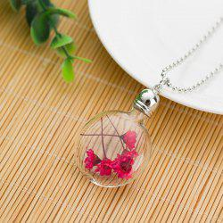 Dry Floral Glass Ball Pendant Necklace
