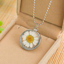 Sunflower Glass Round Pendant Necklace - SILVER