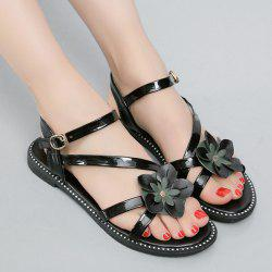 Floral Stitching Strap Flat Sandals