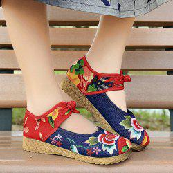 Embroidered Knot Button Flat Shoes