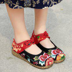 Embroidered Knot Button Flat Shoes - BLACK