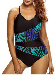 Cross Back Ombre Panel  Swimsuit