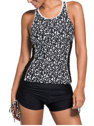 Mesh Panel Graphic Cut Out Tankini Set