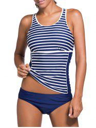 Stripe Cut Out Tankini Set