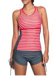 Cut Out Stripe Tankini Set