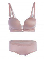 Front Close Seamless Push Up Bra Set - PINK