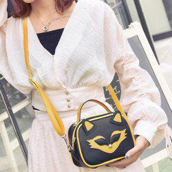 Cat Pattern Contrast Trim Crossbody Bag