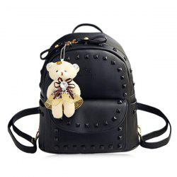 Faux Leather Rivet Backpack with Bear -