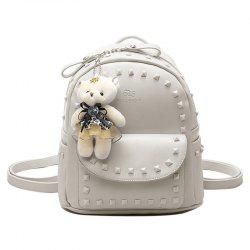 Faux Leather Rivet Backpack with Bear
