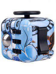 Novelty Print Stress Relief Toy Fidget Rubik's Cube - BLUE