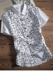 Short Sleeve Irregular Lines Pattern Shirt