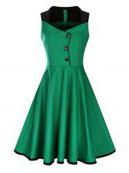 Plus Size Midi Button Embellished 50s Vintage Dress