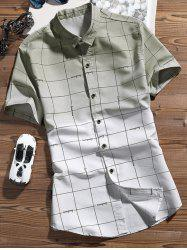 Checked Pattern Ombre Color Shirt