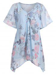 Plus Size Asymmetric Chiffon Floral Swing Blouse