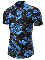 Floral Printed Short Sleeve Hawaiian Shirt - BLUE 3XL
