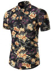 Floral Printed Short Sleeves Shirt - YELLOW