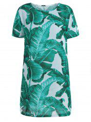 Chiffon Palm Leaf Print Mini Dress