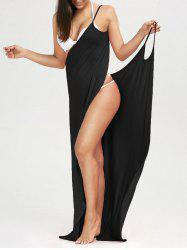 Beach Maxi Wrap Cover Up Long Slip Dress - BLACK