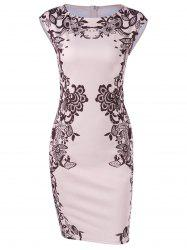 Cap Sleeve Floral Sheath Dress - SHALLOW PINK
