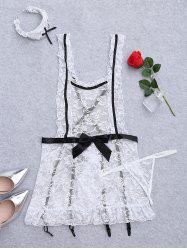 Plus Size Lace Backless Housemaid Costume
