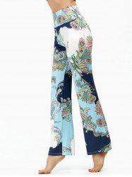 Ethnic Print High Waisted Boho Pants - LIGHT BLUE