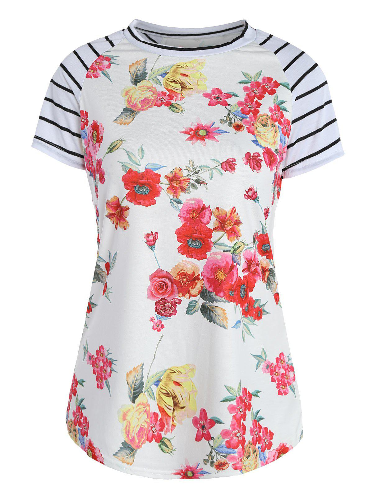 Cheap Stripes Floral Raglan Sleeve Top