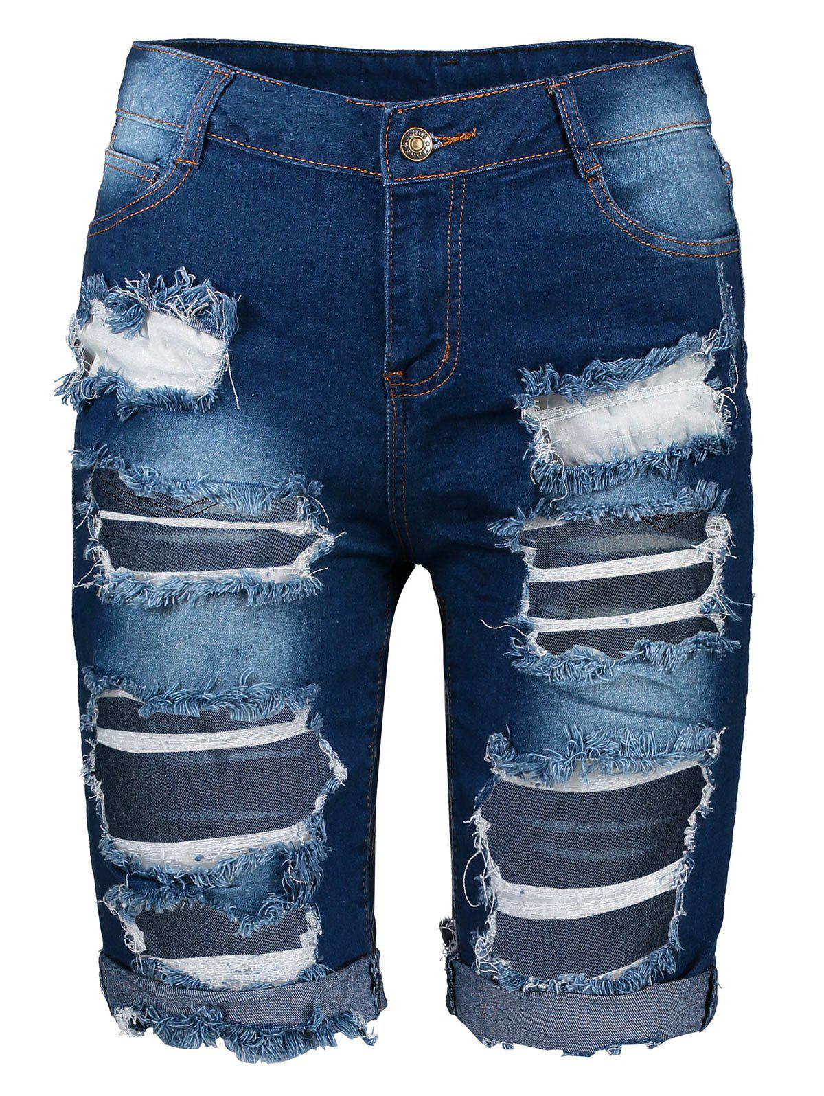 Ripped Denim Knee Length Bermuda ShortsWOMEN<br><br>Size: 3XL; Color: DEEP BLUE; Style: Fashion; Length: Knee-Length; Material: Jeans; Fit Type: Skinny; Waist Type: High; Closure Type: Zipper Fly; Front Style: Flat; Pattern Type: Patchwork; Elasticity: Elastic; Weight: 0.3310kg; Package Contents: 1 x Shorts;