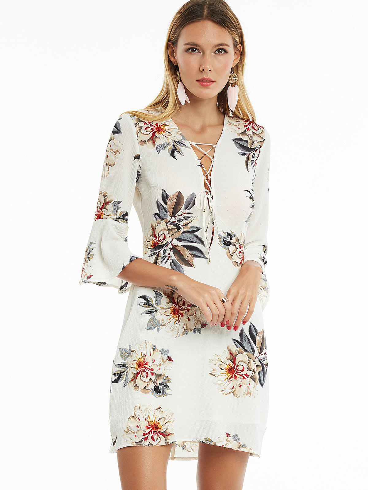 Flare Sleeve Floral Print Lace Up Dress Blanc XL