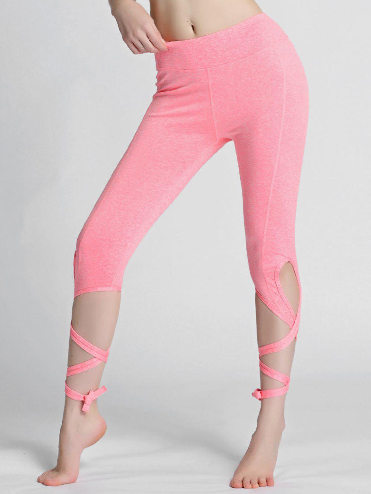 13862e23566e1 49% OFF] High Waisted Lace Up Gym Leggings | Rosegal