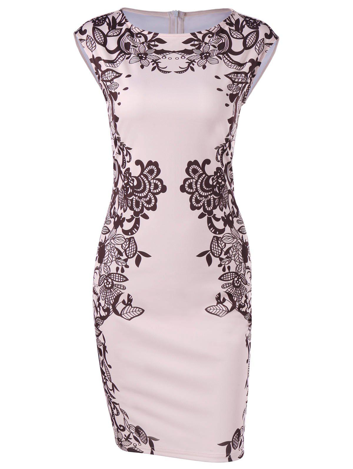 Outfits Cap Sleeve Floral Sheath Dress