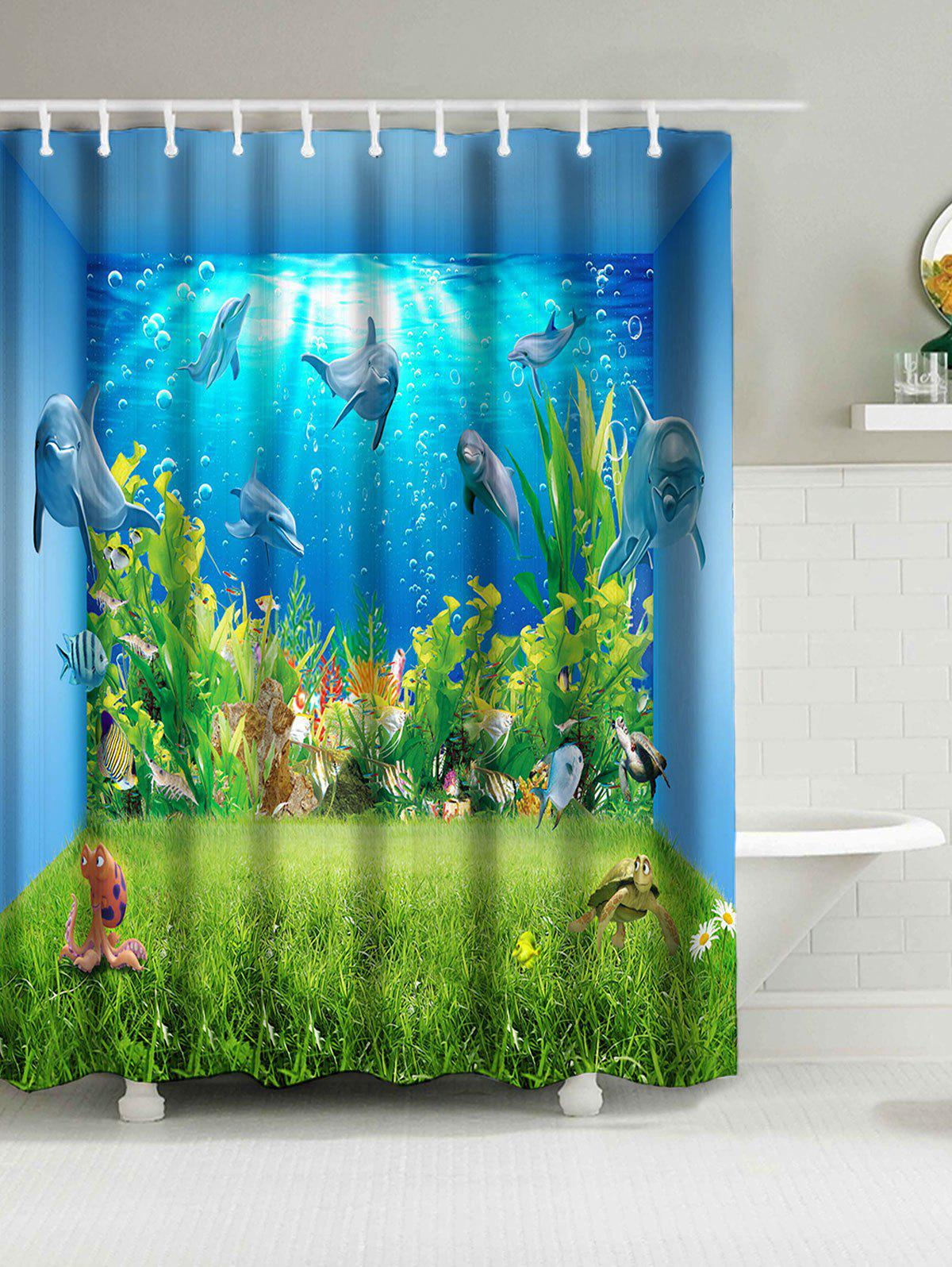 Trendy Sea World Animal Print Water Resistant Shower Curtain