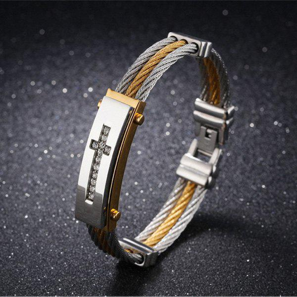 Stainless Steel Rhinestone Crucifix Bangle BraceletJEWELRY<br><br>Color: GOLDEN; Gender: For Men; Chain Type: Others; Material: Rhinestone; Metal Type: Stainless Steel; Style: Trendy; Shape/Pattern: Cross; Length: 18.5CM; Weight: 0.0700kg; Package Contents: 1 x Bracelet;