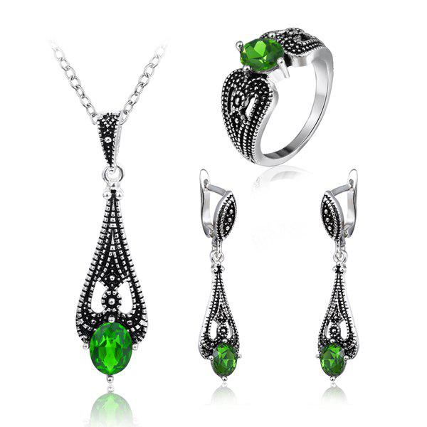 Vintage Faux Emerald Teardrop Jewelry SetJEWELRY<br><br>Color: GREEN; Item Type: Pendant Necklace; Gender: For Women; Necklace Type: Link Chain; Style: Trendy; Shape/Pattern: Water Drop; Length: 45CM (Necklace); Weight: 0.0700kg; Package Contents: 1 x Necklace 1 x Earring (Pair) 1 x Ring;