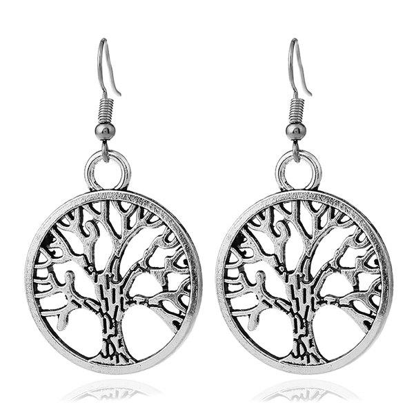 Tree of Life Circle Hook EarringsJEWELRY<br><br>Color: SILVER; Earring Type: Drop Earrings; Gender: For Women; Style: Trendy; Shape/Pattern: Round; Length: 3.5CM; Weight: 0.0300kg; Package Contents: 1 x Earring (Pair);