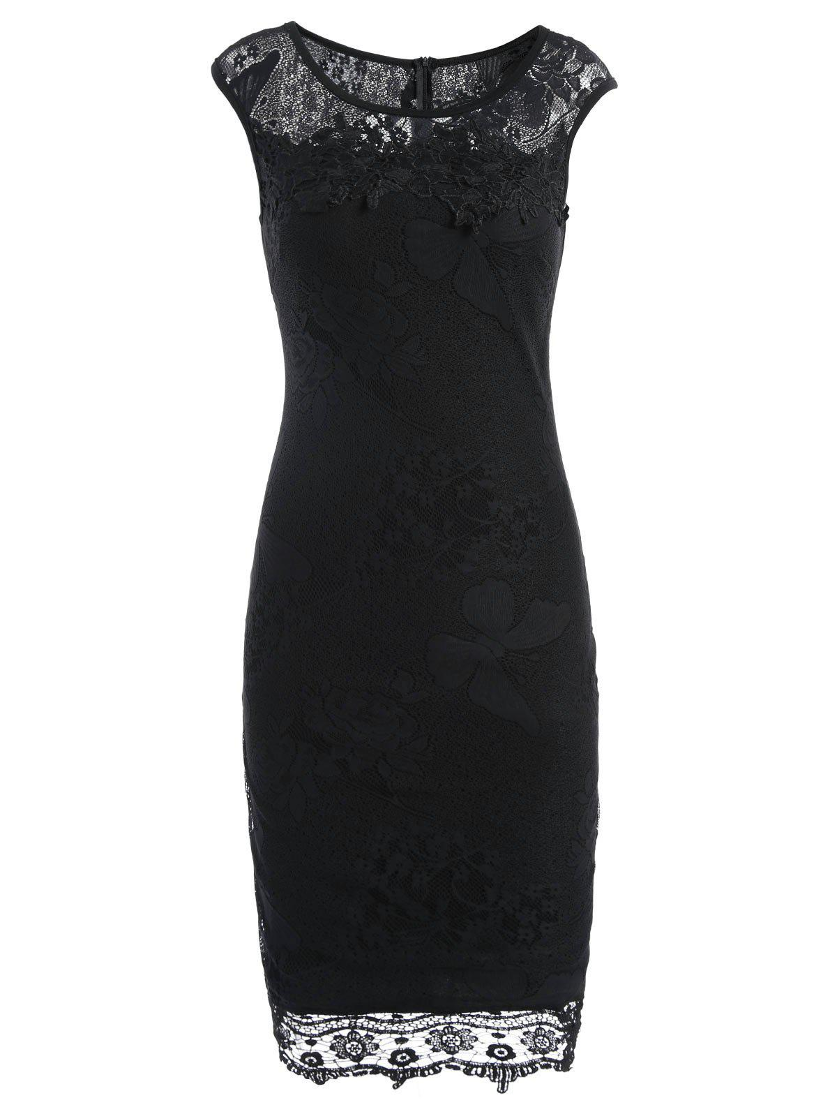 Buy Lace Sleeveless Pencil Sheath Formal Dress