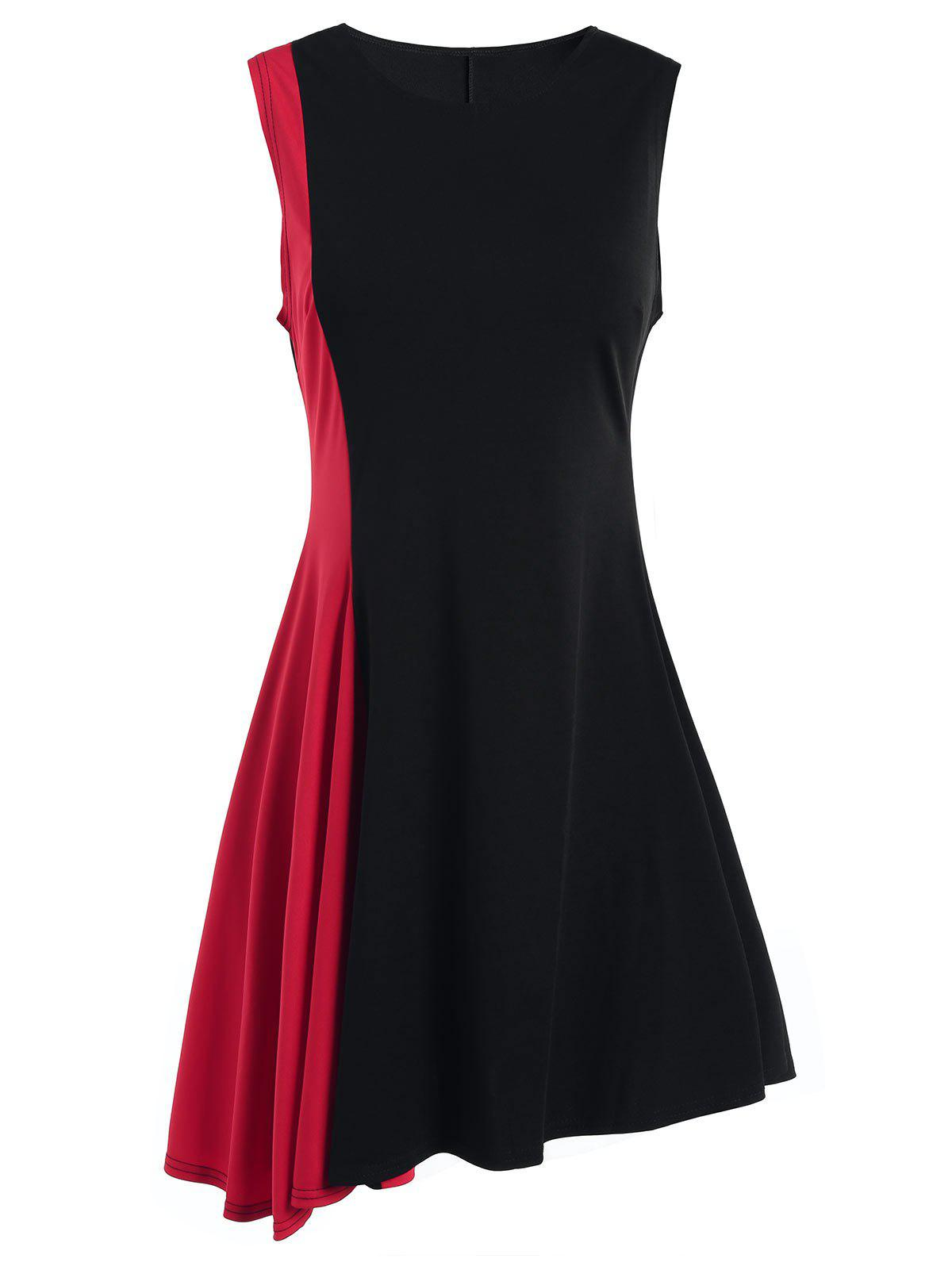 Discount Sleeveless A Line Two Tone Dress