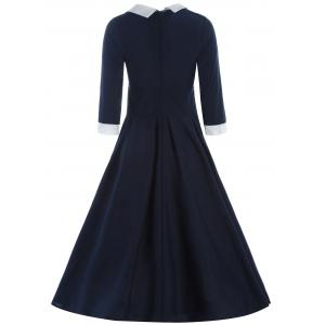 Contrast Collar Tea Length Vintage Swing Dress - CADETBLUE L