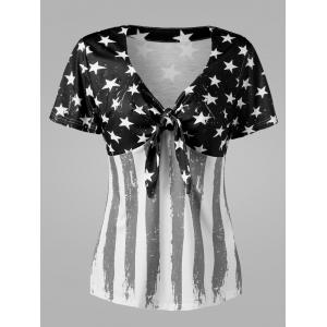 Empire Waist American Flag Plus Size T-Shirt - White And Black - 4xl