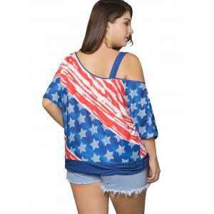 Plus Size Cold Shoulder American Flag Print Top -