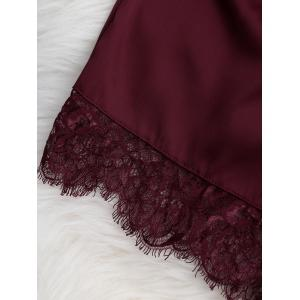 Lace Sheer Bra with Pajama Shorts - WINE RED S