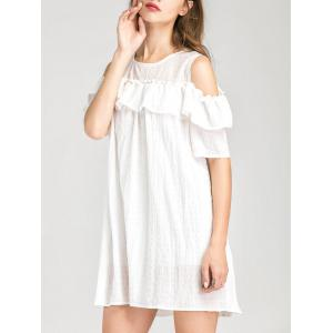 Cold Shoulder Layer Ruffles Tunic Casual Dress - WHITE L