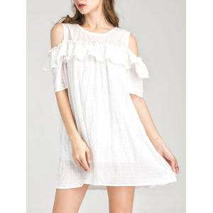 Cold Shoulder Layer Ruffles Tunic Casual Dress
