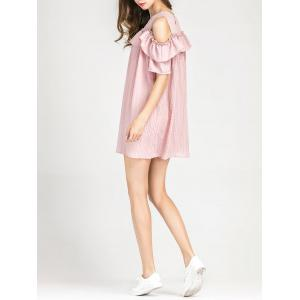 Cold Shoulder Layer Ruffles Tunic Casual Dress -