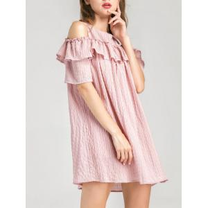 Cold Shoulder Layer Ruffles Tunic Casual Dress - Pink - L