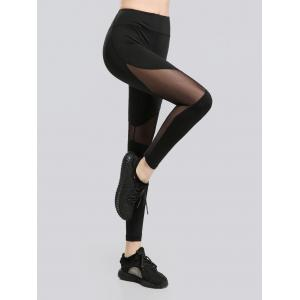 See Through Mesh Work Out Leggings - Black - S