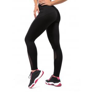 High Rise Compression Mesh Workout Leggings - Black - S